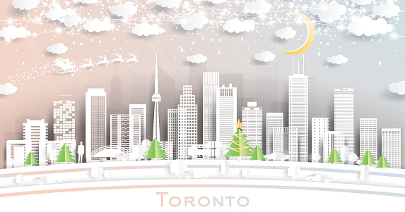 Toronto Canada City Skyline in Paper Cut Style with Snowflakes, Moon and Neon Garland.