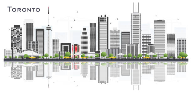 toronto canada city skyline with color buildings and reflections isolated on white. - toronto stock illustrations