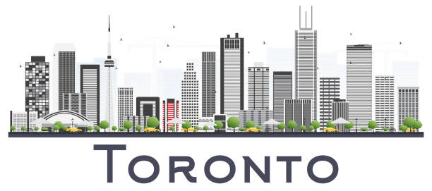 toronto canada city skyline with color buildings isolated on white background. - toronto stock illustrations