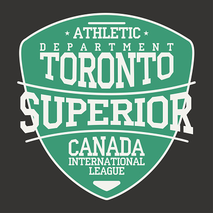 Toronto, Canada sportswear emblem in shield form. Vintage athletic university apparel design with lettering. T-shirt graphics