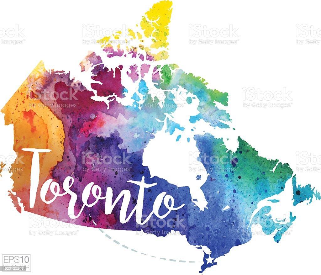 Toronto Canada Vector Watercolor Map stock vector art 623125242