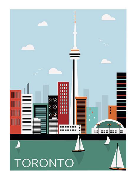 Toronto city. Canada. Toronto city Canada in bright colors lakeshore stock illustrations