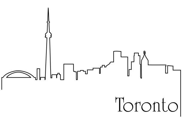 toronto city one line drawing background - toronto stock illustrations