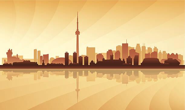 toronto city skyline silhouette background - toronto stock illustrations