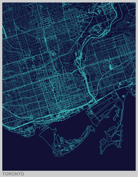 toronto map illustration - toronto stock illustrations