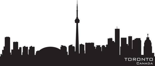 toronto ontario canada city skyline silhouette - toronto stock illustrations