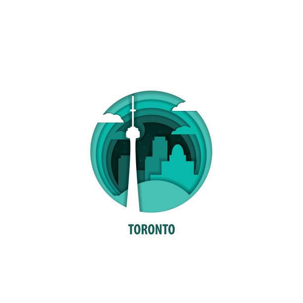 toronto origami paper city vector illustration - toronto stock illustrations