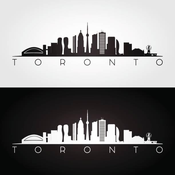 toronto skyline and landmarks silhouette, black and white design, vector illustration. - toronto stock illustrations