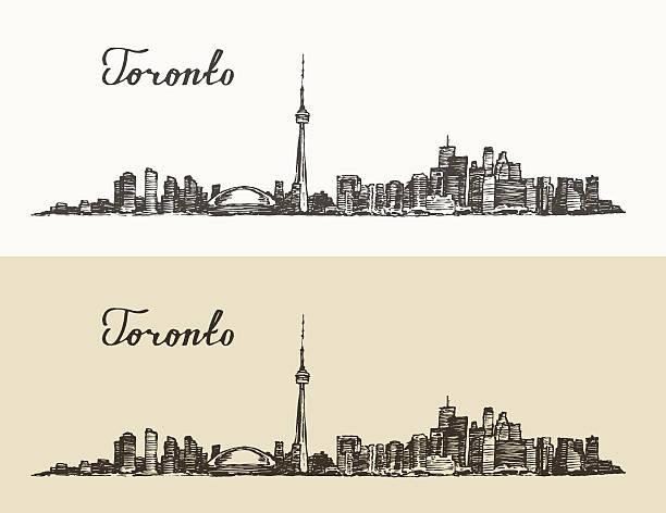 toronto skyline canada vintage engraved hand drawn - toronto stock illustrations