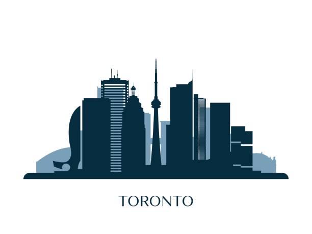 toronto skyline, monochrome silhouette. vector illustration. - toronto stock illustrations