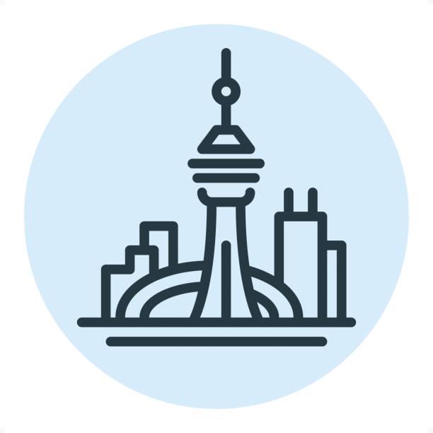 toronto skyline - pixel perfect single line icon - toronto stock illustrations