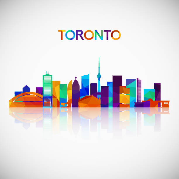 toronto skyline silhouette in colorful geometric style. symbol for your design. vector illustration. - toronto stock illustrations
