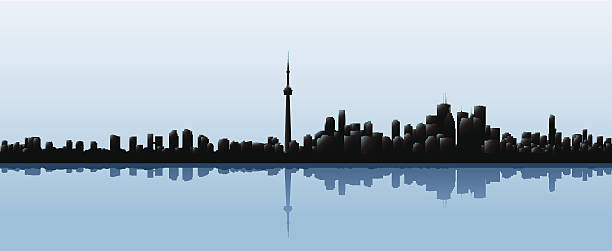 Toronto Skyline Skyline silhouette of the city of Toronto, Ontario, Canada. waterfront stock illustrations
