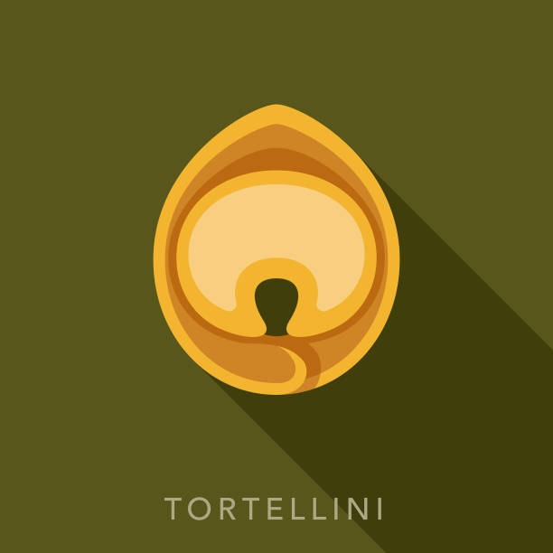 Tortellini Pasta Icon A flat design icon with a long shadow. File is built in the CMYK color space for optimal printing. Color swatches are global so it's easy to change colors across the document. tortellini stock illustrations
