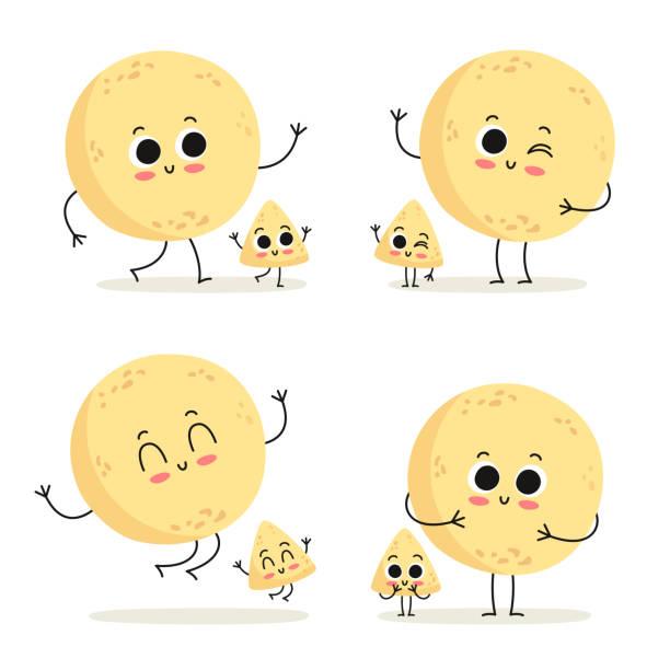 tortilla und chip. fast-food zeichen satz isoliert auf weiss - tortillas stock-grafiken, -clipart, -cartoons und -symbole