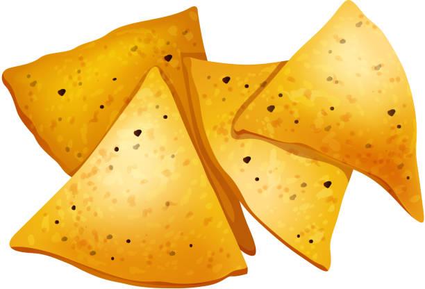 Tortilla-Chips auf weißem Hintergrund – Vektorgrafik