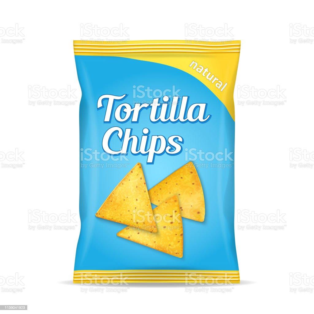 Tortilla majs chips paket väska, isolerad på vit bakgrund - Royaltyfri Bag vektorgrafik