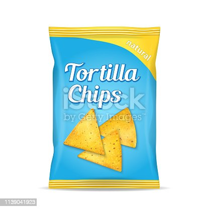 Tortilla corn chips packet bag, isolated on white background, vector illustration