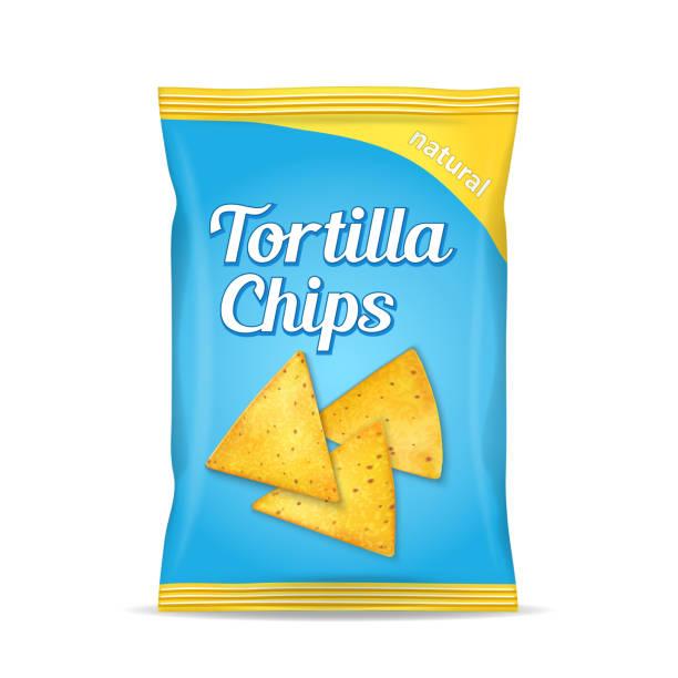 bildbanksillustrationer, clip art samt tecknat material och ikoner med tortilla majs chips paket väska, isolerad på vit bakgrund - potatischips