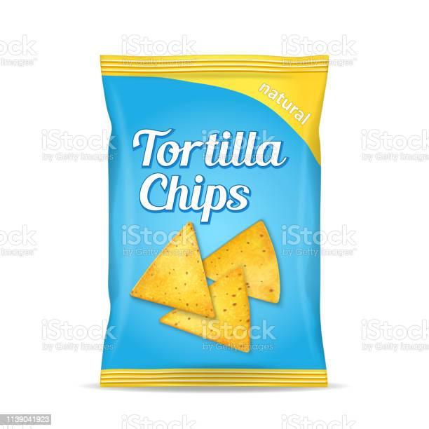 Tortilla Majs Chips Paket Väska Isolerad På Vit Bakgrund-vektorgrafik och fler bilder på Bag