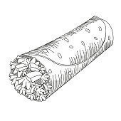 Tortilla wrap - black and white illustration/ drawing - isolated on white background.