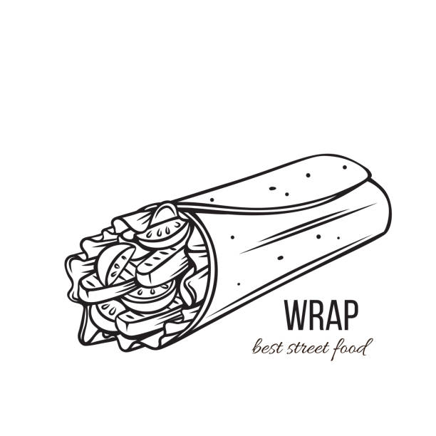 Tortilla wraps outline Takeaway food. Tortilla wraps with grilled chicken fillet and fresh vegetables . Street lunch. Vector illustration. bread clipart stock illustrations