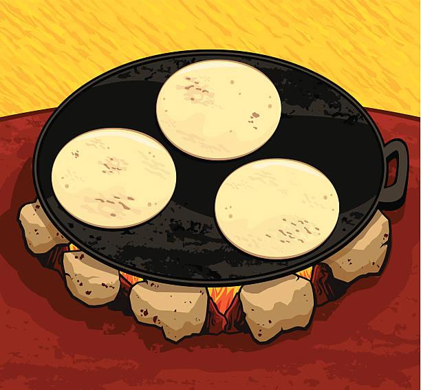 Tortillas on comal vector art illustration