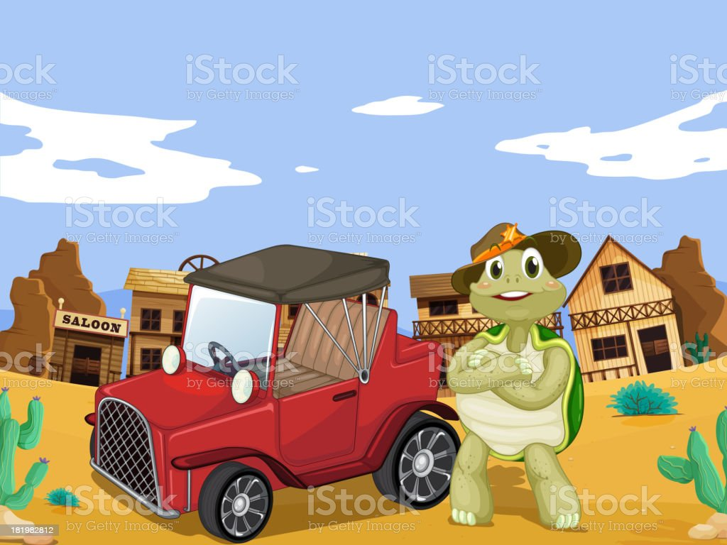 tortoise and car royalty-free stock vector art