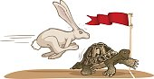 A collection of the Tortoise and the Hare.  Each animal is grouped individually and separate from the background.