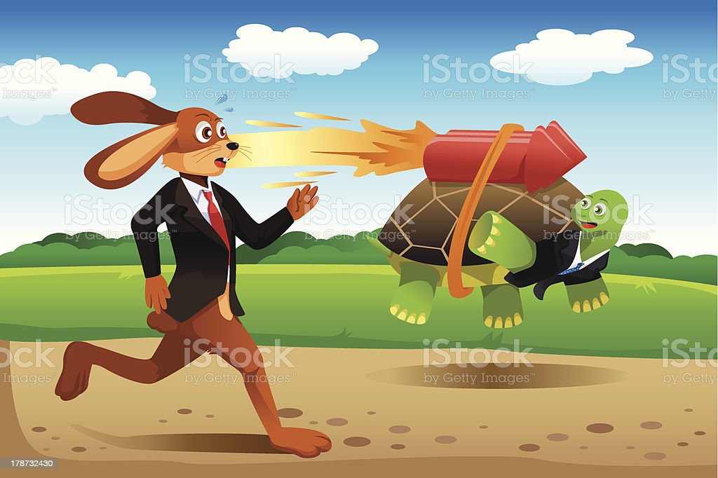 Tortoise and hare racing royalty-free stock vector art