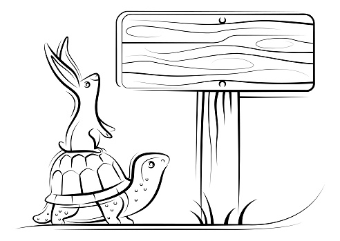 tortoise and rabbit finding direction line drawing