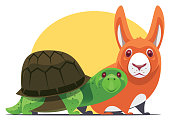 vector illustration of tortoise and rabbit gathering