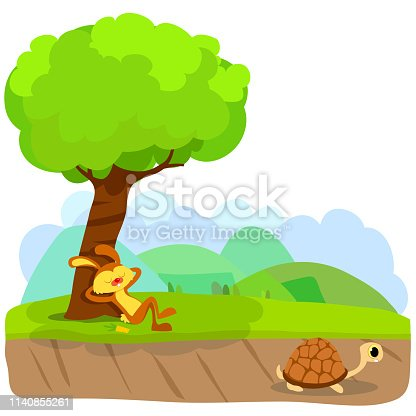 istock Tortoise and The Hare or Turtle and The Rabbit Fable Vectoral Illustration. 1140855261