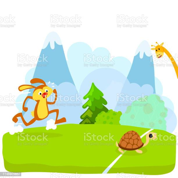 Tortoise and the hare or turtle and the rabbit fable vectoral vector id1145925857?b=1&k=6&m=1145925857&s=612x612&h=1u2kz9qpozkb2mszzwuivatgmwmw0q614wps1lvpcgs=