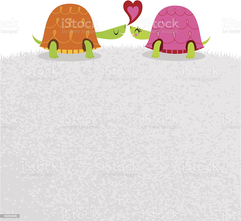 Tortoise love turtle couple happy animal valentine illustration vector vector art illustration