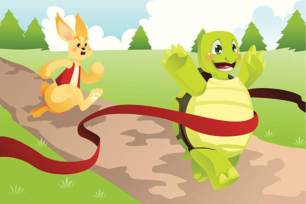 Tortoise winning a race in front of a hare vector art illustration