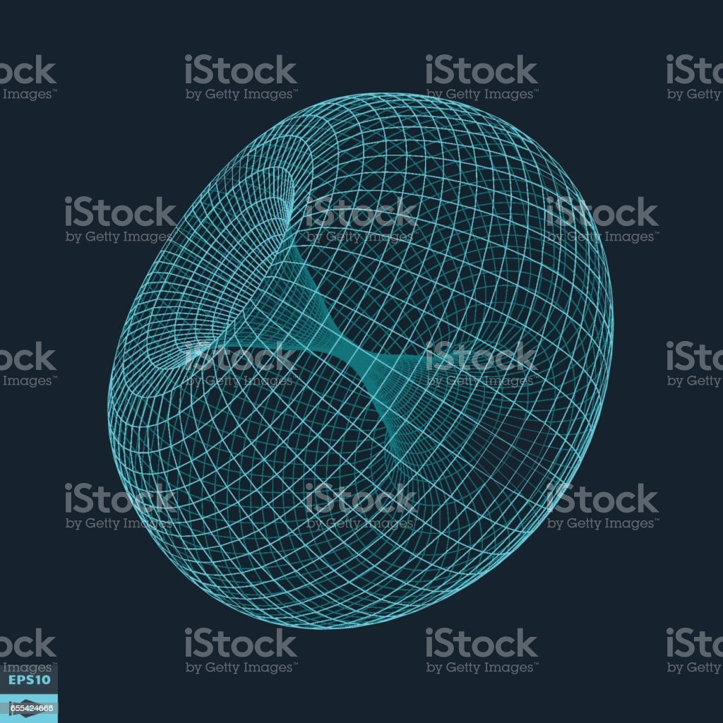 Torus. Molecular lattice. Connection structure. vector art illustration