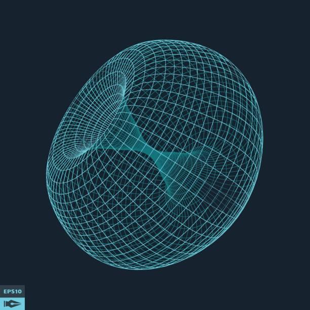 Torus. Molecular lattice. Connection structure. vector art illustration