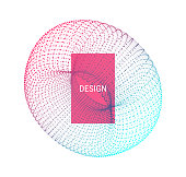 Torus. Object with lines and dots. Wireframe illustration. Abstract 3d grid design. Technology style.
