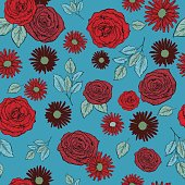 Tossed Seamless pattern Of Botanical Style Roses And Daisies