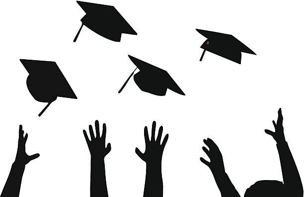 Royalty Free Graduation Caps Thrown Clip Art, Vector ...