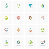 Total design element set 3 - real property, science, industry, love, business, nature and ecology flat icons.