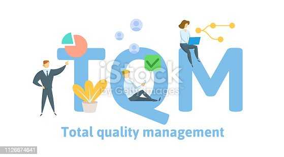 TQM, Total Quality Management. Concept with keywords, letters and icons. Colored flat vector illustration. Isolated on white background.