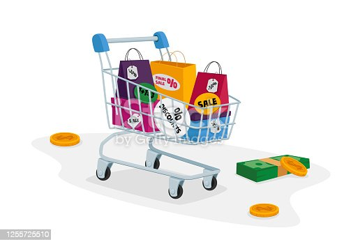 istock Total Sale Concept. Customer Trolley Full of Colorful Shopping Bags, Money Bills and Coins around. Special Offer Promotion Discount and Price Off Day, Shopper Activity. Cartoon Vector Illustration 1255725510