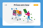 istock Total Sale Landing Page Template. Tiny Male Shopper Character Holding Huge Credit Card with Money. Happy Man Shopping 1257019801