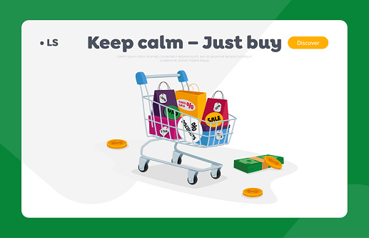 Total Sale Landing Page Template. Trolley Full of Colorful Shopping Bags, Money Bills and Coins around. Special Offer Promotion Discount or Price Off Day, Shopper Activity. Cartoon Vector Illustration