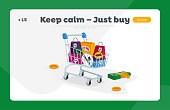 istock Total Sale Landing Page Template. Trolley Full of Shopping Bags, Money Bills and Coins. Special Offer Promotion Discount 1257016200