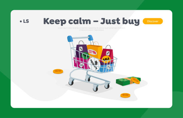 Total Sale Landing Page Template. Trolley Full of Shopping Bags, Money Bills and Coins. Special Offer Promotion Discount Total Sale Landing Page Template. Trolley Full of Colorful Shopping Bags, Money Bills and Coins around. Special Offer Promotion Discount or Price Off Day, Shopper Activity. Cartoon Vector Illustration holidays and seasonal background stock illustrations