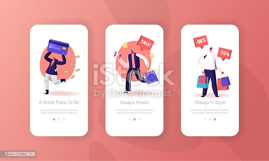 Total Sale Mobile App Page Onboard Screen Set. Special Shopping Offer Promotion in Store, Discount and Price Off Day, Shopper Activity Concept for Website or Web Page, Cartoon Flat Vector Illustration
