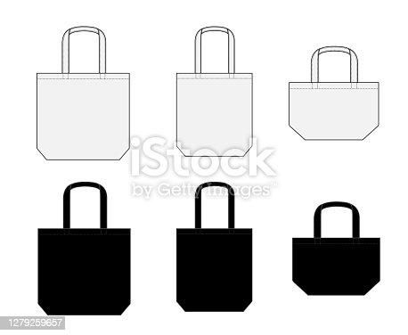 Tote bag (ecobag , shopping bag) template vector illustration set ( various types )